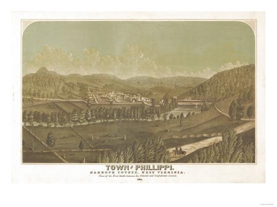 Philippi, West Virginia - Panoramic Map-Lantern Press-Art Print