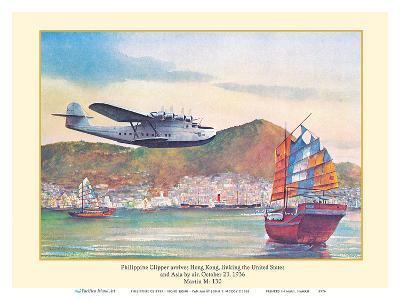 Philippine Clipper Arrives Hong Kong Oct. 1936 - Pan American Airways - Martin M-130-John T^ McCoy-Art Print