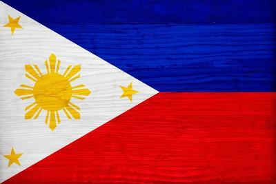 Philippines Flag Design with Wood Patterning - Flags of the World Series-Philippe Hugonnard-Art Print