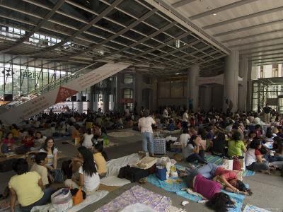 Philippino Housekeepers Gathering Together on Sundays at Hsbc Bank Hall, Hong Kong, China-Sergio Pitamitz-Photographic Print