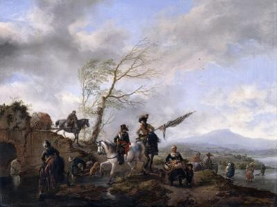 An Extensive River Landscape with Soldiers and a Standard Bearer Watering their Horses