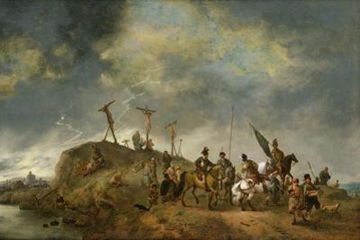 A View of Mount Calvary with the Crucifixion, 1652 by Philips Wouwermans Or Wouwerman