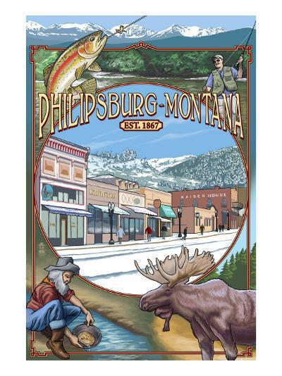 Philipsburg, Montana Montage-Lantern Press-Art Print