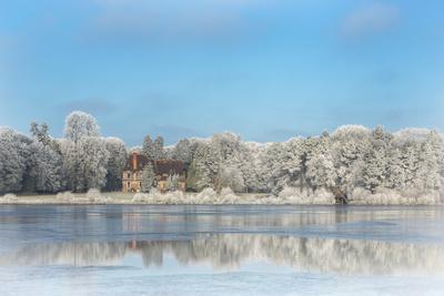 broceliande castle in winter morning