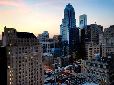 Philly Skyscrapers at Nightfall, Philadelphia, Pennsylvania, United States-Philippe Hugonnard-Photographic Print