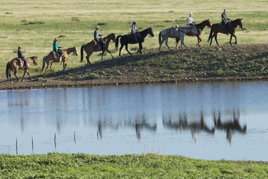 Philmont Cavalcade Ride Along Pond with Reflection, Cimarron, New Mexico-Maresa Pryor-Photographic Print