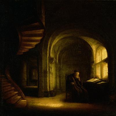 Philosopher with an Open Book, 1625-7-Rembrandt van Rijn-Giclee Print