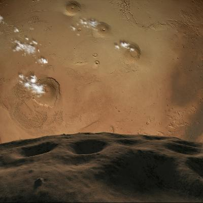Phobos Orbits So Close to Mars That the Planet Would Fill the Little Moon's Sky-Stocktrek Images-Photographic Print