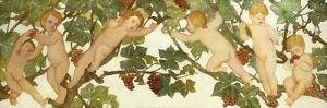 Putti Frolicking in a Vineyard by Phoebe Anna Traquair
