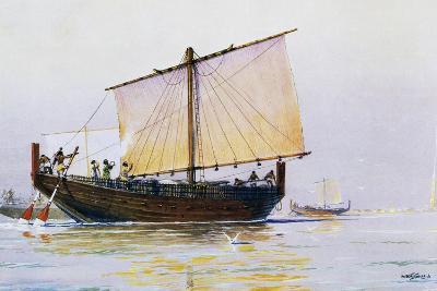 Phoenician Merchant Ship Arriving in Pharos, Watercolor by Albert Sebille (1874-1953), 20th Century--Giclee Print