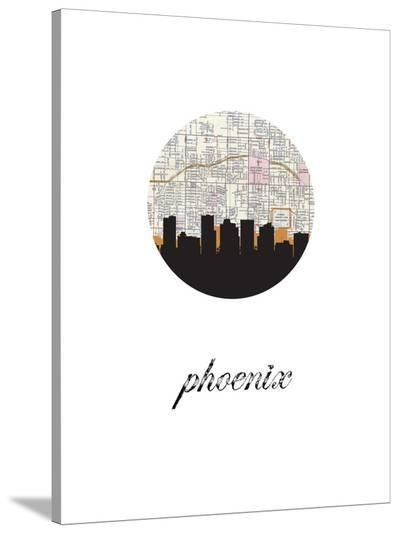 Phoenix Map Skyline-Paperfinch 0-Stretched Canvas Print