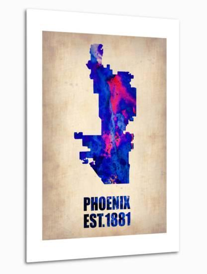 Phoenix Watercolor Map-NaxArt-Metal Print