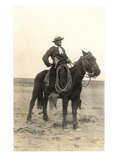 Photo of Cowboy on Horse--Art Print