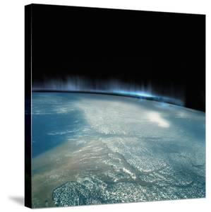 Digital Illustration of Aurora Borealis from Space by Photodisc