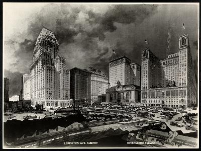 Photograph of a Drawing of Subway Routes around Pershing Square by H. Bierdermann, 1919-Byron Company-Giclee Print