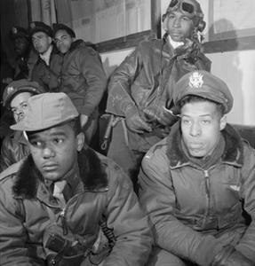 Photograph of Tuskegee Airmen Attending a Briefing in Ramitelli, Italy, March 1945