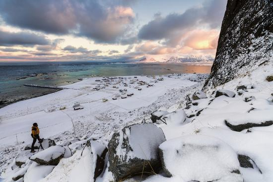 Photographer on the Snow Admires the Fishing Village under a Colorful Sky Eggum-Roberto Moiola-Photographic Print