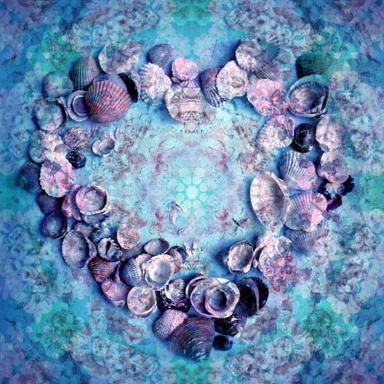 Photographic Layer Work of a Heart from Seashells and Floral Ornaments in Blue Lavender Tones-Alaya Gadeh-Photographic Print