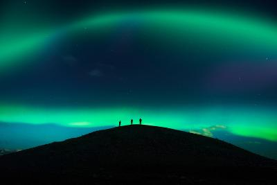 Photographing Auroras and Icebergs at Glacial Lagoon, Vatnajokull Ice Cap, Iceland-Ragnar Th Sigurdsson-Photographic Print