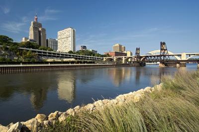 Railroad Track and Robert Street Bridge from Raspberry Island. Downtown Saint Paul, Minnesota