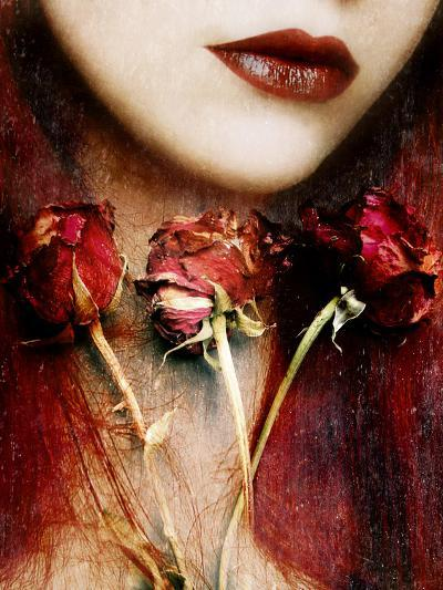 Photomontage of a Portrait with Roses and Floral Textures-Alaya Gadeh-Photographic Print