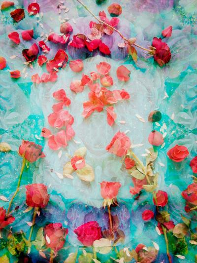 Photomontage of Red Roses and Floralen Ornaments-Alaya Gadeh-Photographic Print