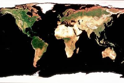 Photomosaic of Earth Without Cloud Cover--Giclee Print