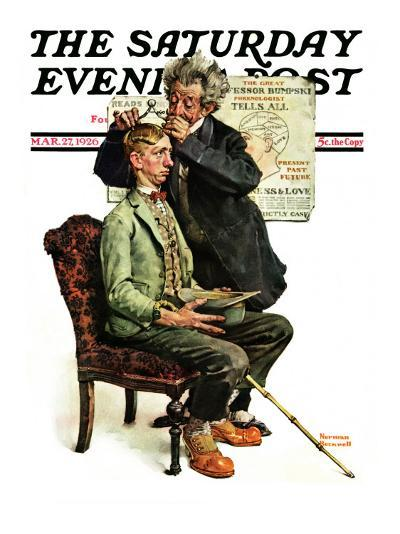 """""""Phrenologist"""" Saturday Evening Post Cover, March 27,1926-Norman Rockwell-Giclee Print"""