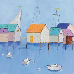 Boat House Row Dark Blue Sky by Phyllis Adams