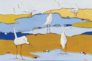 Marsh Egrets VI Dark Sand by Phyllis Adams