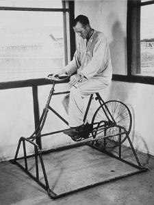 Physical Therapy Patient Using Stationary Bicycle, Ca. 1950