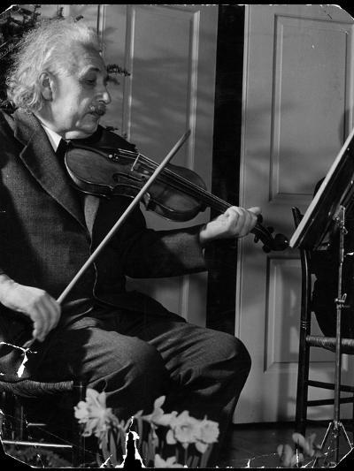 Physicist Dr. Albert Einstein Practicing His Beloved Violin-Hansel Mieth-Premium Photographic Print