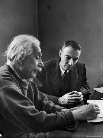 Physicist J. Robert Oppenheimer Discusses Theory of Matter with Famed Physicist Dr. Albert Einstein-Alfred Eisenstaedt-Premium Photographic Print