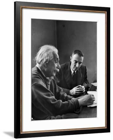 Physicist J. Robert Oppenheimer Discusses Theory of Matter with Famed Physicist Dr. Albert Einstein-Alfred Eisenstaedt-Framed Premium Photographic Print