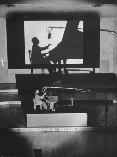 "Pianist Artur Rubinstein Playing Piano for ""Concerto""-Bob Landry-Premium Photographic Print"