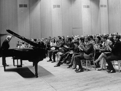 Pianist Artur Rubinstein Taking Bow Next to Grand Piano as Audience Enthusiastically Responds--Premium Photographic Print