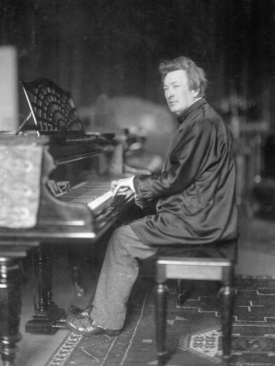 Pianist Ferrucio Busoni Posing at Piano-H. Hermann-Photographic Print