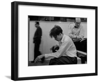 Pianist Glenn Gould Listening Intensely to Performance of Bach's Goldberg Variations Played Back-Gordon Parks-Framed Premium Photographic Print