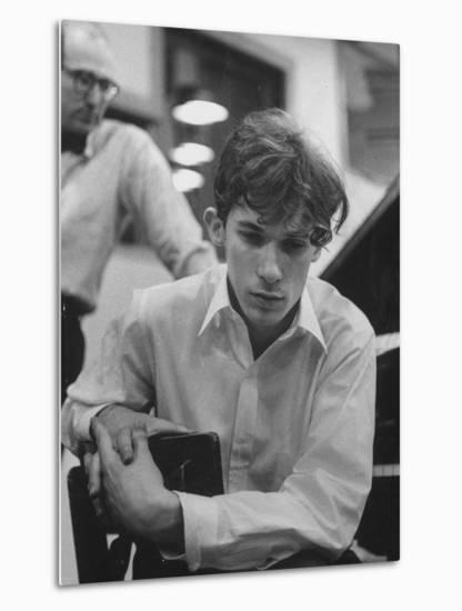 Pianist Glenn Gould Listening Intensely to Performance of Bach's Goldberg Variations Played Back-Gordon Parks-Metal Print