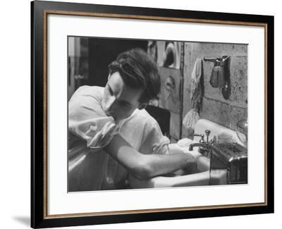 Pianist Glenn Gould Soaking His Hands in Sink to Limber Up His Fingers Before in Studio-Gordon Parks-Framed Premium Photographic Print