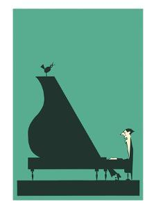 Pianist with Perched Bird