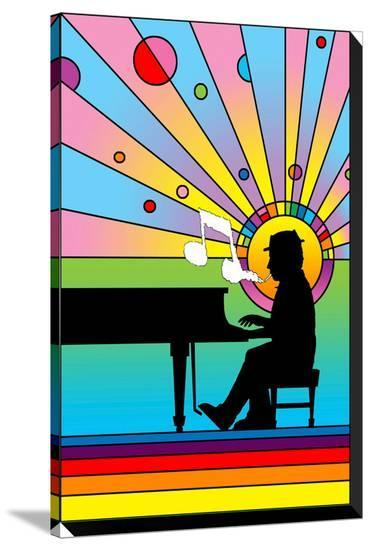 Piano Player 1-Howie Green-Stretched Canvas Print