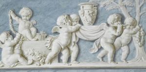 Amours et attributs vase porté sur un brancard by Piat Joseph Sauvage