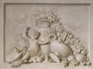 Grisaille en trompe-l'oeil imitant un bas-relief (d'une série de six), dessus de porte by Piat Joseph Sauvage