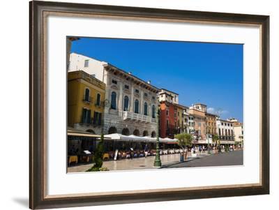 Piazza Bra, Verona, UNESCO World Heritage Site, Veneto, Italy, Europe- Nico-Framed Photographic Print