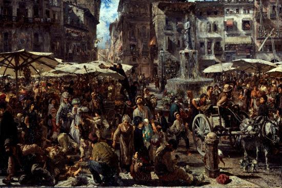 Piazza D?Erbe in Verona, 1884-Adolph Friedrich von Menzel-Giclee Print