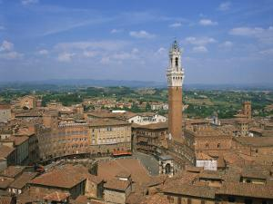 Piazza Del Campo and Houses on the Skyline of the Town of Siena, Tuscany, Italy