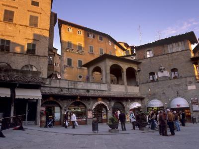 Piazza Della Repubblica in the Evening in the Medieval Town of Cortona, Tuscany, Italy, Europe-Patrick Dieudonne-Photographic Print