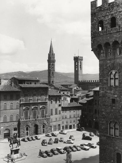 Piazza Della Signoria in Florence with the Belltower of the Badia Fiorentina and the Bargello Tower-Vincenzo Balocchi-Photographic Print