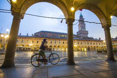 Piazza Ducale, Vigevano, Lombardy, Italy. Rainy Sunset and People.-Marco Bottigelli-Photographic Print